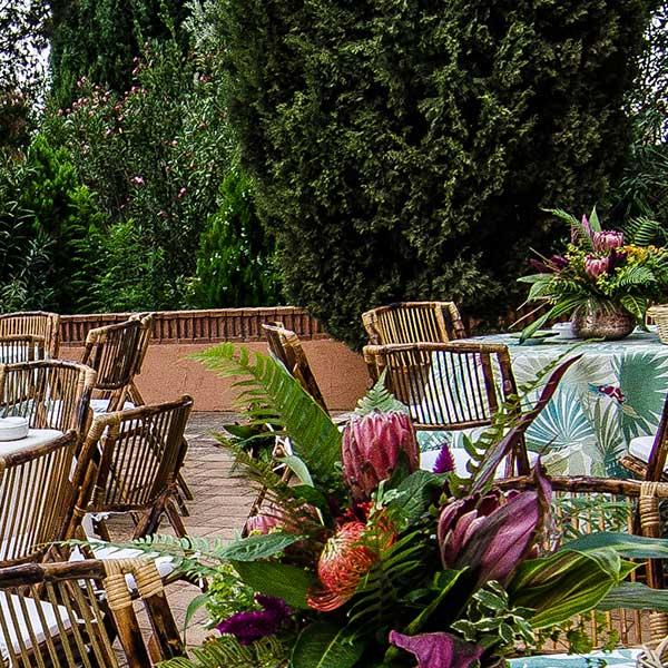 mesas de evento en verano